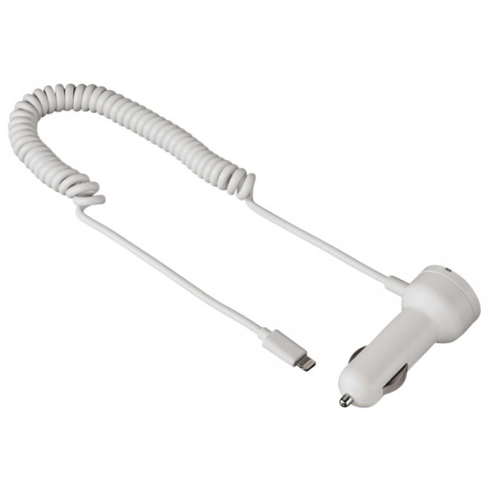 Автомобильное зарядное устройство 3Cott 3C-CC-142AW-1USB-1MC с выходом 5V 1A USB A F и кабелем MicroUSB/M 0,9м с выходом 5В 2.1А, белый